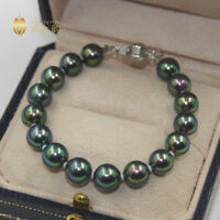 "7.5-8"" Gorgeous AAA+ 8-9mm natural Tahitian black green round pearl bracelet 14k"