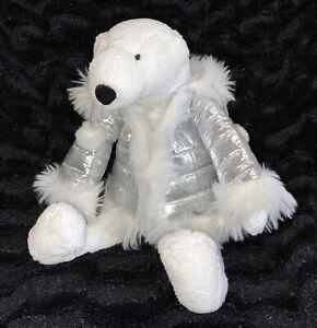 "Bath & Body Works Igloo The Polar Bear Plush 16"" White W Silver Coat Stuffed"