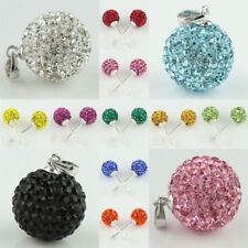 Sparkle Czech Crystal Pave Disco Ball 925 Silver Pendant Stud Earrings for pick