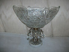 Marble base glass ovel bowl with hanging prisms, made in Italy