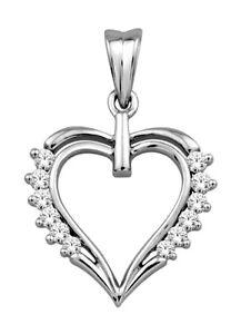 0.36ct Diamond 14k White Gold Ladies Heart Wedding Valentine Gift Pendant