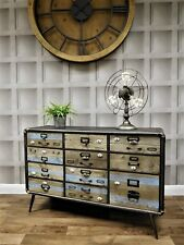 Industrial retro urban silver metal sideboard 11 drawer unit cabinet storage