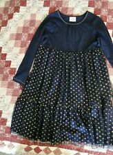 Hanna Andersson 140 10 - 12 Blue Dress Christmas Holiday Tulle Glitter Dot EUC