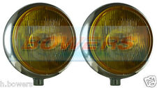 "SIM STAINLESS STEEL CHROME 9"" CIBIE SUPER OSCAR YELLOW SPOT/DRIVING LAMPS/LIGHTS"