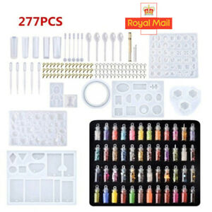 277PCS Resin Casting Molds Silicone DIY Jewelry Pendant Mould Making Craft Kit