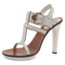 GUCCI CREAM LEATHER HEEL T-STRAP SANDALS, 41, $695