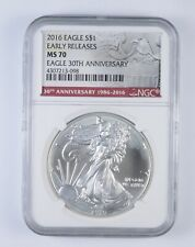 MS70 2016 American Silver Eagle Early Releases 30th Anniversary Graded NGC *560