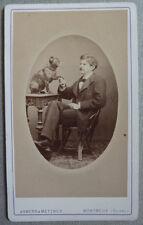 Photo Carte de Visite Cdv Homme et Chien Dog à Montreux Vers 1870