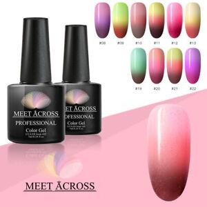 MEET ACROSS Color Changing Thermal UV Gel Nail Polish Soak Off Temperature Nail