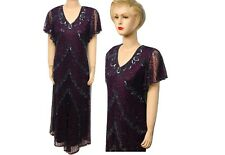 New Women Wine Color Sequin Beaded Vintage Evening Long Dress Plus Size 16 to 30