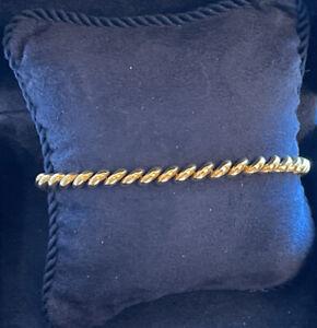 "14 K yellow gold Italian San Marco macaroni bracelet 7"" pre-owned weight ca 10 g"