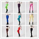Women Candy Shiny Bright Fluorescent Glow Nylon Stretch Leggings Pants 9Colors