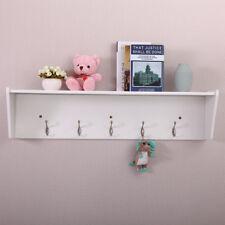 Wall Mount Coat Rack Storage Shelf Organizer Entryway Hallway White W/ 5 Hooks