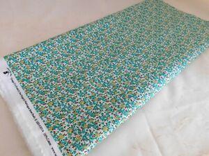 Sara Morgan 30s Floral Feedsack Repro Cotton Quilting Fabric Green Flower BTHY