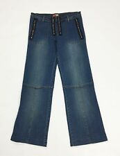 Kaily jeans donna M 42 W28 jeans zip usati campana larghi losse retro T1629