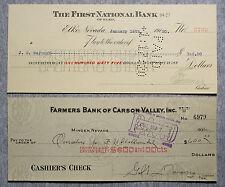 2 us bank checks ebay nevada usa bank checks 1910s 30s nice used altavistaventures Image collections