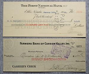 Set of 2 diff. Nevada USA bank checks 1910's-30's nice used
