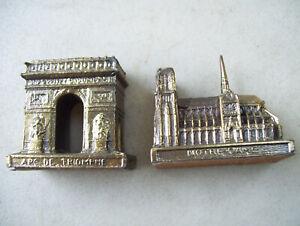 The Icons of Paris: Arc de Triomphe & Notre-Dame Mini Metal Buildings Set Of 2