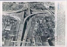 1955 John Lodge & Edsel Ford Expressway Interchange 1950s Detroit Press Photo