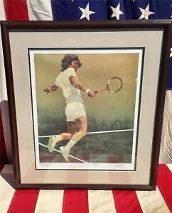 "Vintage ""Backhand"" Tennis Art Watercolor Print #541/550 Original Artwork Signed"