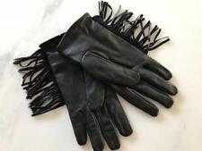 women's  MAISON SCOTCH & SODA leather fringe biker gloves  size s/m