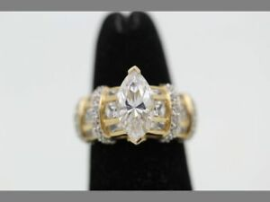 Solid 14K Yellow Gold w/1 Carat Marquise Fancy Ring - Size 5.25