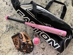 "14oz Hello Kitty Model TB22 24"" T-Ball Bat, Easton Bag, Rawlings Mitt & Ball"
