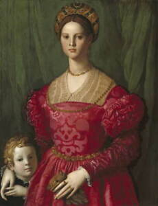 Agnolo Bronzino A Young Woman and Her Little Boy Poster Giclee Canvas Print