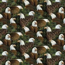 Nature Fabric - Wild Wings Flying High Eagle Heads Green - Springs YARD