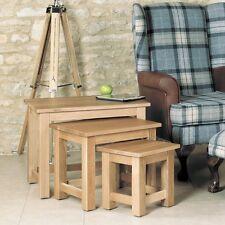Mobel Oak Wooden Living Room Furniture Solid Wooden Nest Of 3 Coffee Side Tables