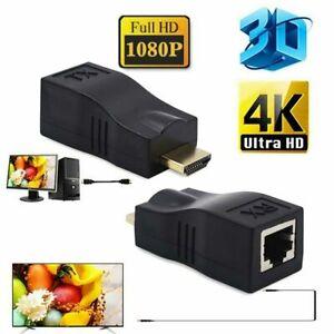 2tlg. 4K HDMI 30M Extender auf RJ45 1080P Cat 5e/6 Netzwerk LAN Ethernet Adapter