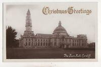 Town Hall Cardiff Christmas Greetings Vintage RP Postcard Glamorgan 750b