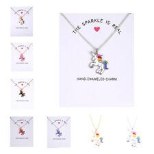 Christmas gift Unicorn pendant necklace multi kids girls costume jewellery party