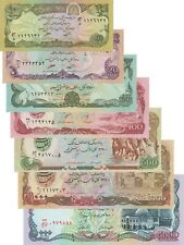 Afghanistan 7 Note Set: 10 to 5000 Afghanis (1979) - p55 to 62 UNC