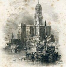 Alter Druck Stahlstich Kathedrale von Málaga Spanien Andalusien
