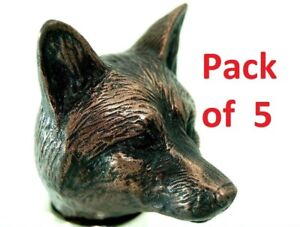 Fox head cold cast copper Fits 25mm collar PACK OF 5 walking stick making