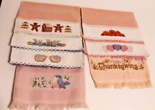 Lot of 7 Completed Cross Stitch Decorative Fingertip Towels