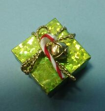 Dollhouse Miniature Handcrafted Christmas Holiday Gift Package Green & Gold 1:12