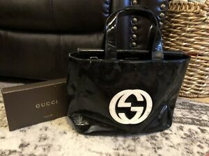 Authentic GUCCI Black White Patent Leather Tote Satchel Purse Bag-RARE-$1400
