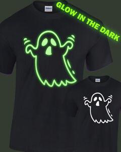 Ghost Glow in the Dark T-Shirt kids childrens glowing halloween fancy