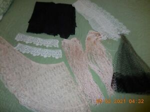 Eight  ANTIQUE Vintage Netting Crochet Tatted LACE Collar Cuffs Scarf Mantilla