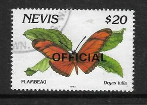 NEVIS 1993 $20 BUTTERFLY Dryas julia OFFICIAL STAMP Fine Used (No 1)