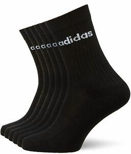 Adidas Socks 6 Pairs Black Sports Crew FJ7721 Junior Boys Size U.K 2 - 3.5 New