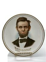VINTAGE~ABRAHAM LINCOLN~PORCELAIN ADVERTISING PLATE~ EJ DEMERS VERMONT Abe