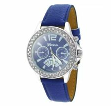 DOOKA  Geneva Numeral Faux Leather Quartz Crystal Stone Wrist Watch BLUE/SILVER