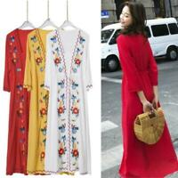 Women Vintage Cotton Linen Embroidered Floral 3/4 Sleeve Boho Maxi Long Dress