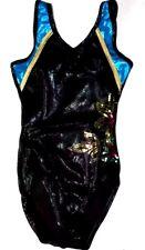 ALPHA FACTOR Black Foil Peacock Gold Mystique Strappy Sequin Leotard Leo AXS