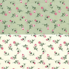 100% Cotton Poplin Fabric Rose & Hubble Fallen Pink Roses Floral Flowers Rose
