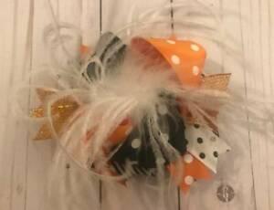 """Orange & Black White Feather Halloween Hair Bow 5 1/2"""""""