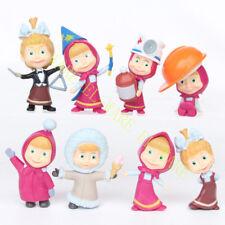 8 PCS Masha And The Bear Various Masha Action Figure Cute Doll Cake Topper Toys